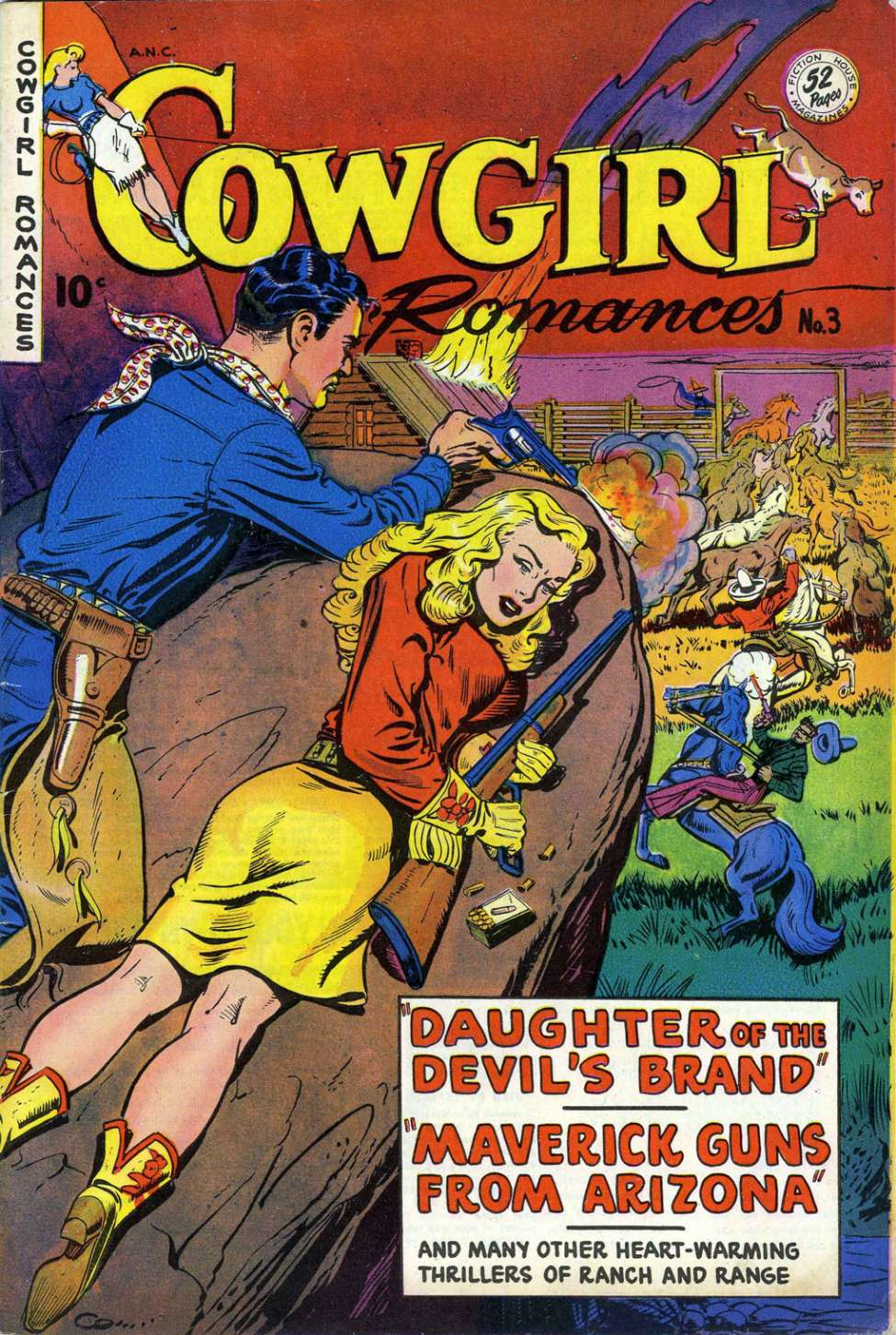 Comic Book Cover For Cowgirl Romances #3
