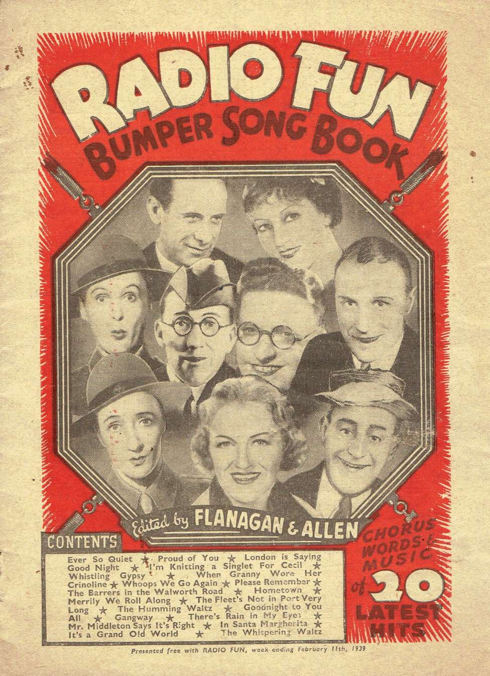 Comic Book Cover For Radio Fun Bumper Song Book