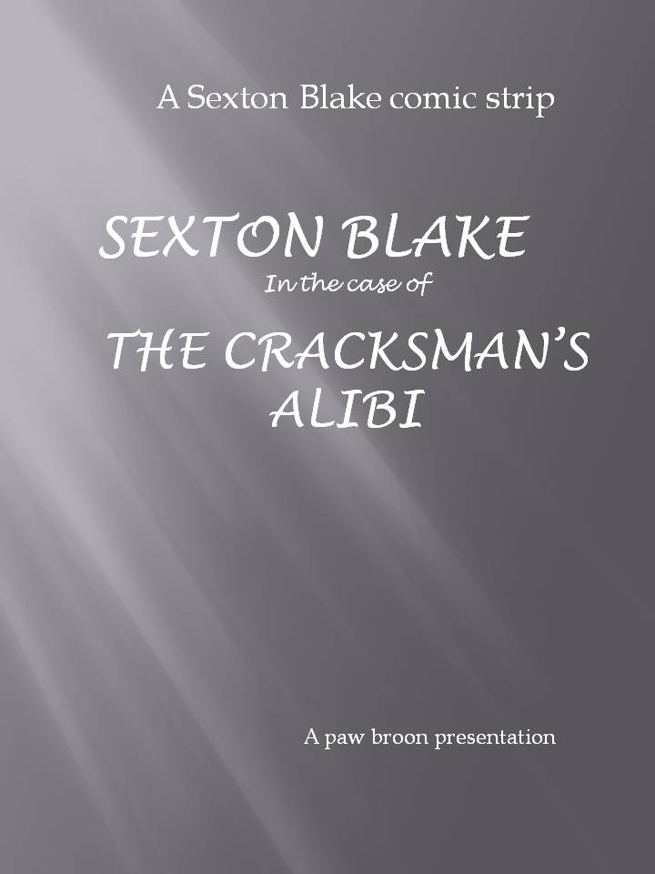 Comic Book Cover For Sexton Blake - The Cracksman's Alibi
