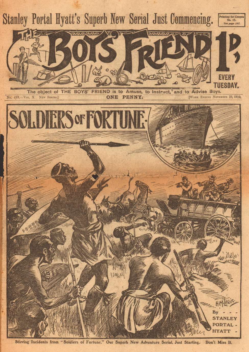 Comic Book Cover For The Boys' Friend 0493 - Soldiers of Fortune