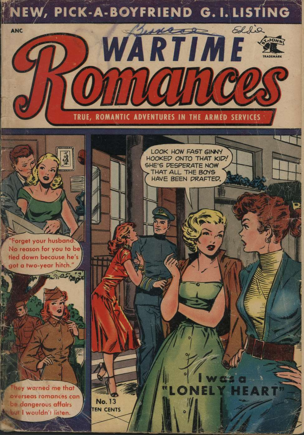 Comic Book Cover For Wartime Romances #13