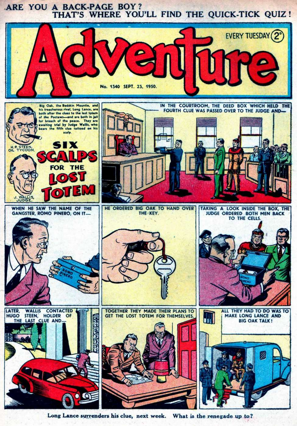 Comic Book Cover For Adventure #1340