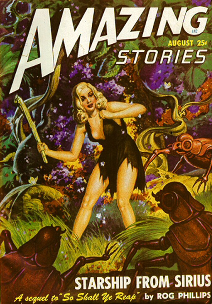 Comic Book Cover For Amazing Stories v22 08 - Starship from Sirius - Rog Phillips