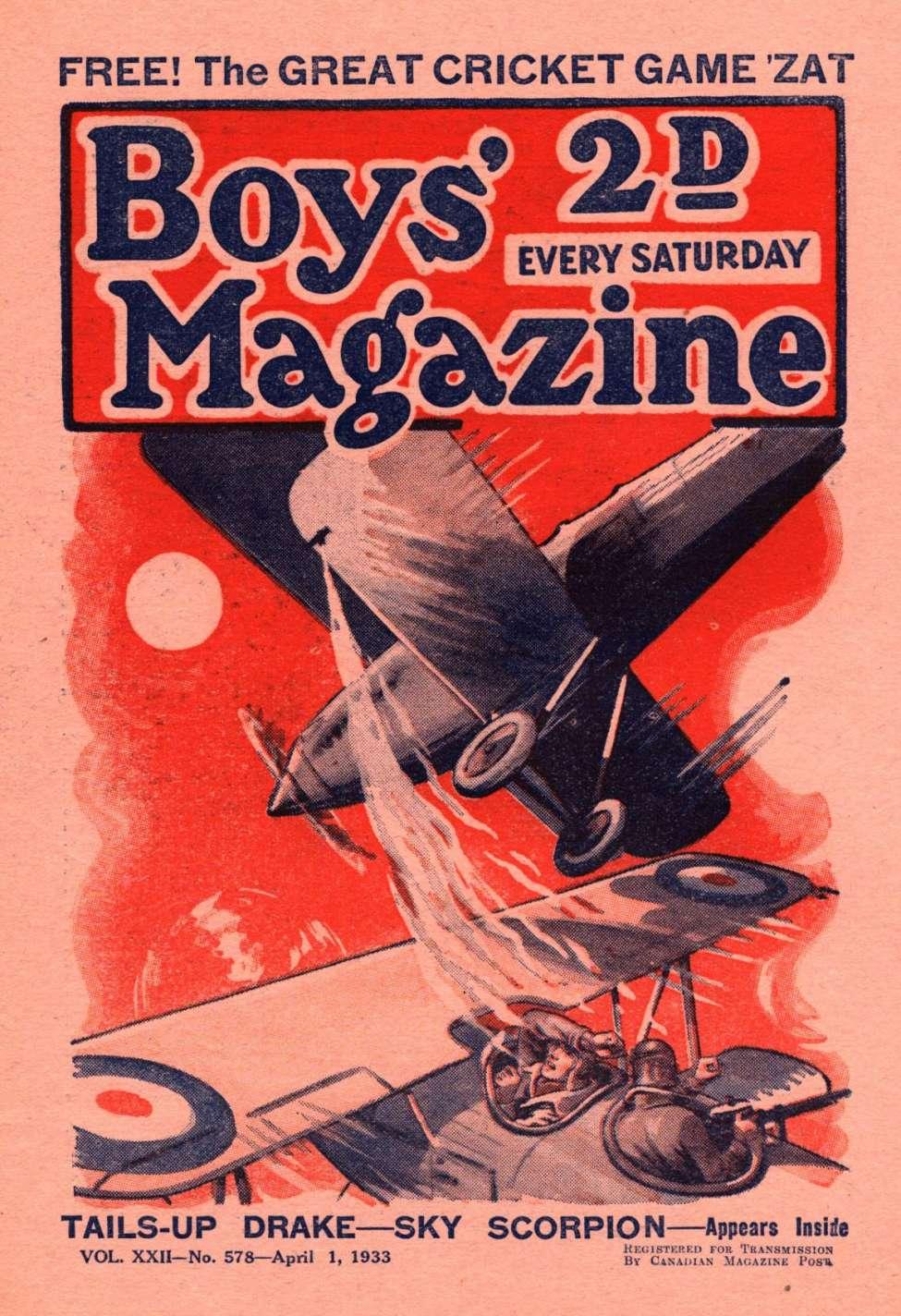 Comic Book Cover For Boys' Magazine 578