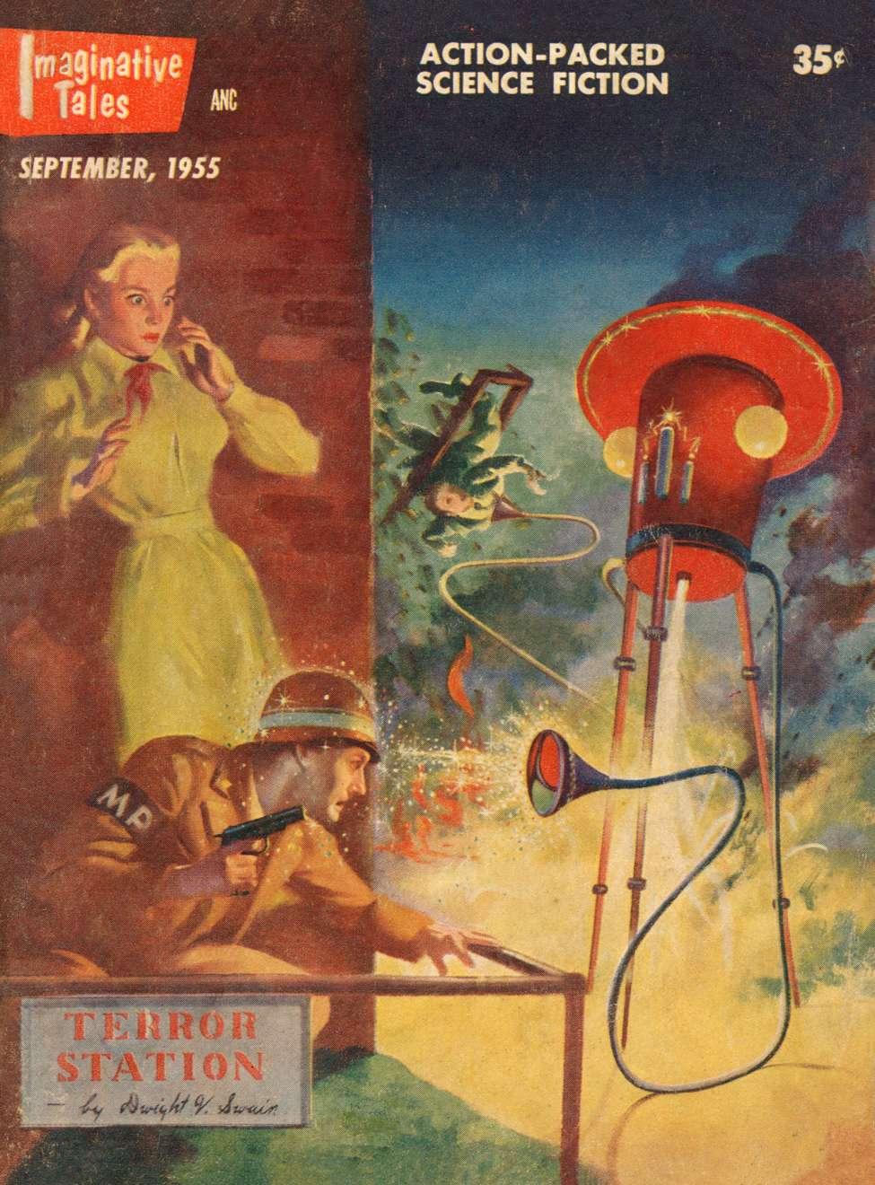 Comic Book Cover For Imaginative Tales v02 01 - Terror Station - Dwight V. Swain