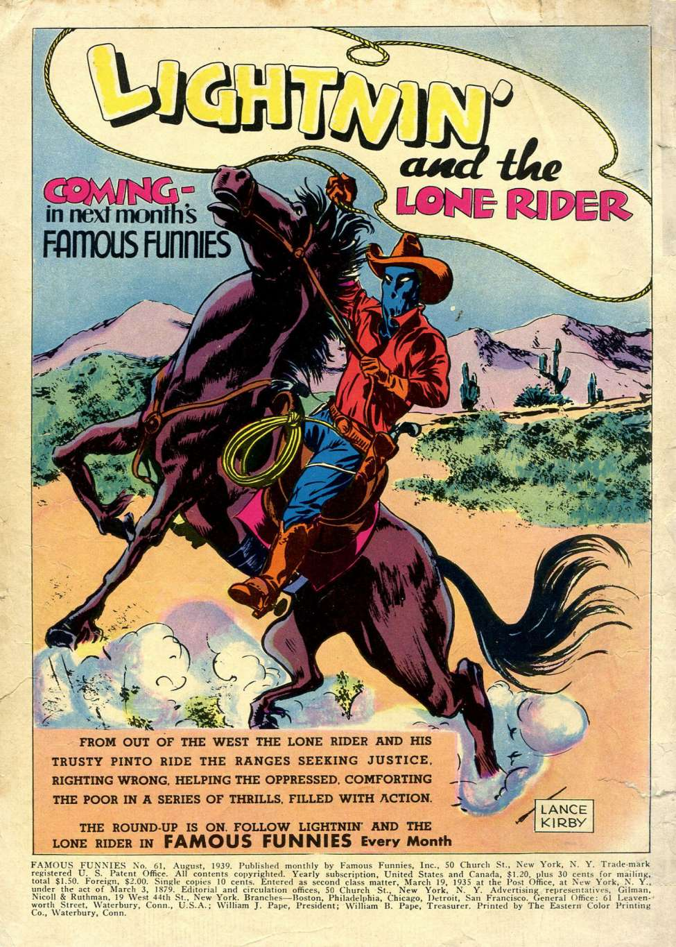 Comic Book Cover For Lightin' and the Lone Rider