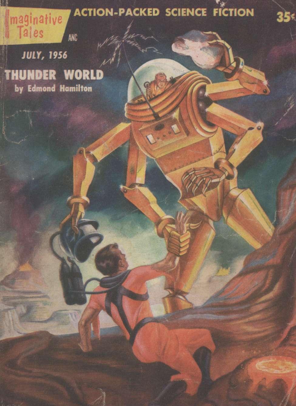 Comic Book Cover For Imaginative Tales v03 04 - Thunder World - Edmond Hamilton
