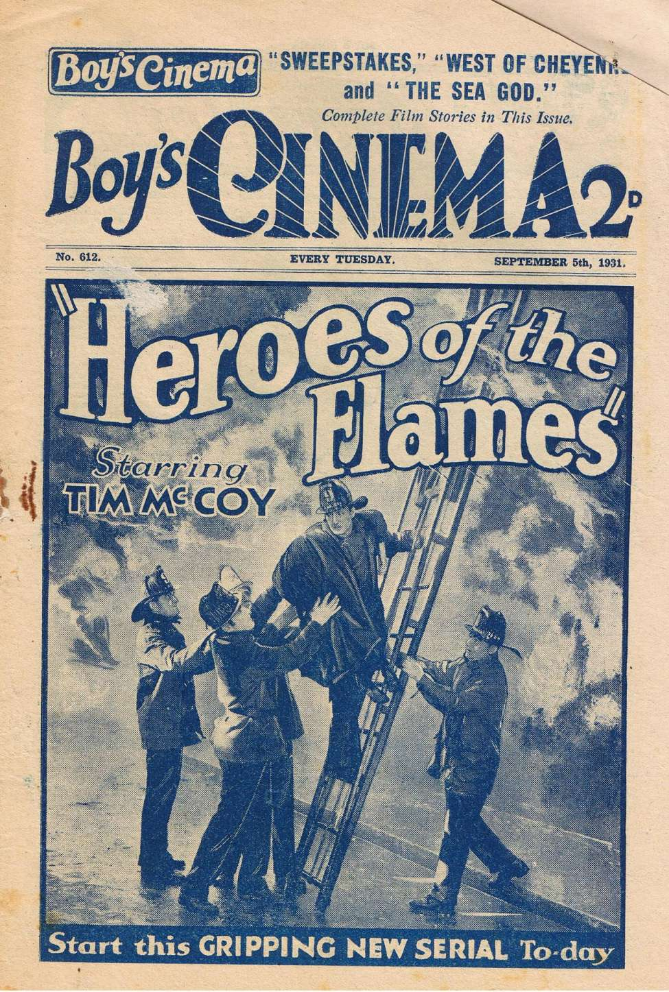 Comic Book Cover For Boy's Cinema 0612 - Heroes of the Flames starring Tim McCoy