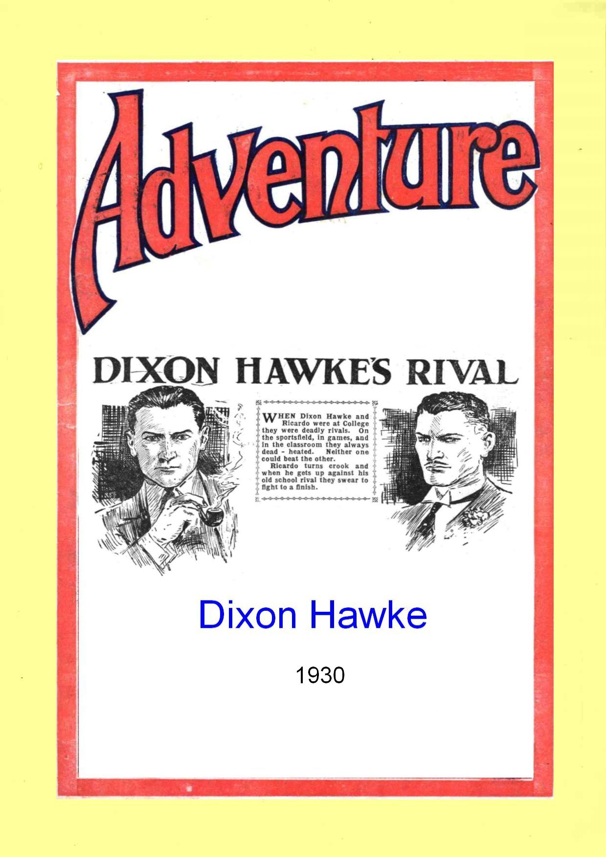 Comic Book Cover For Dixon Hawke's Rival