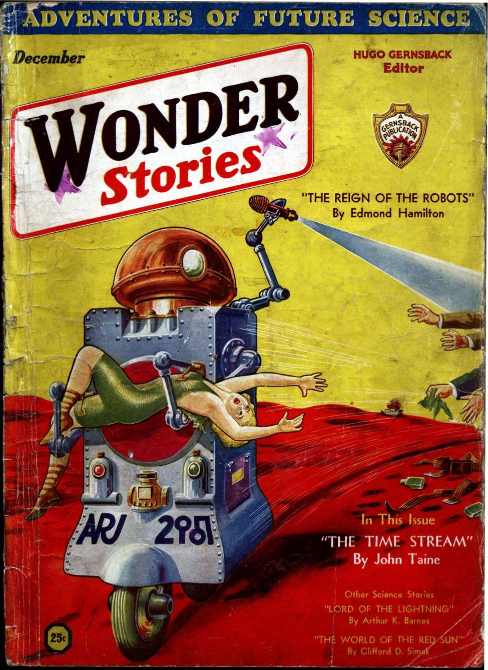 Comic Book Cover For Wonder Stories v3 07 - The Time Stream - serial by John Taine