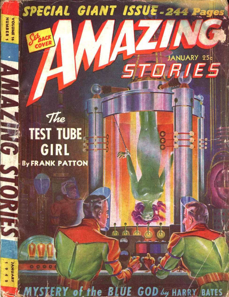 Comic Book Cover For Amazing Stories v16 01 - The Test Tube Girl - Frank Patton