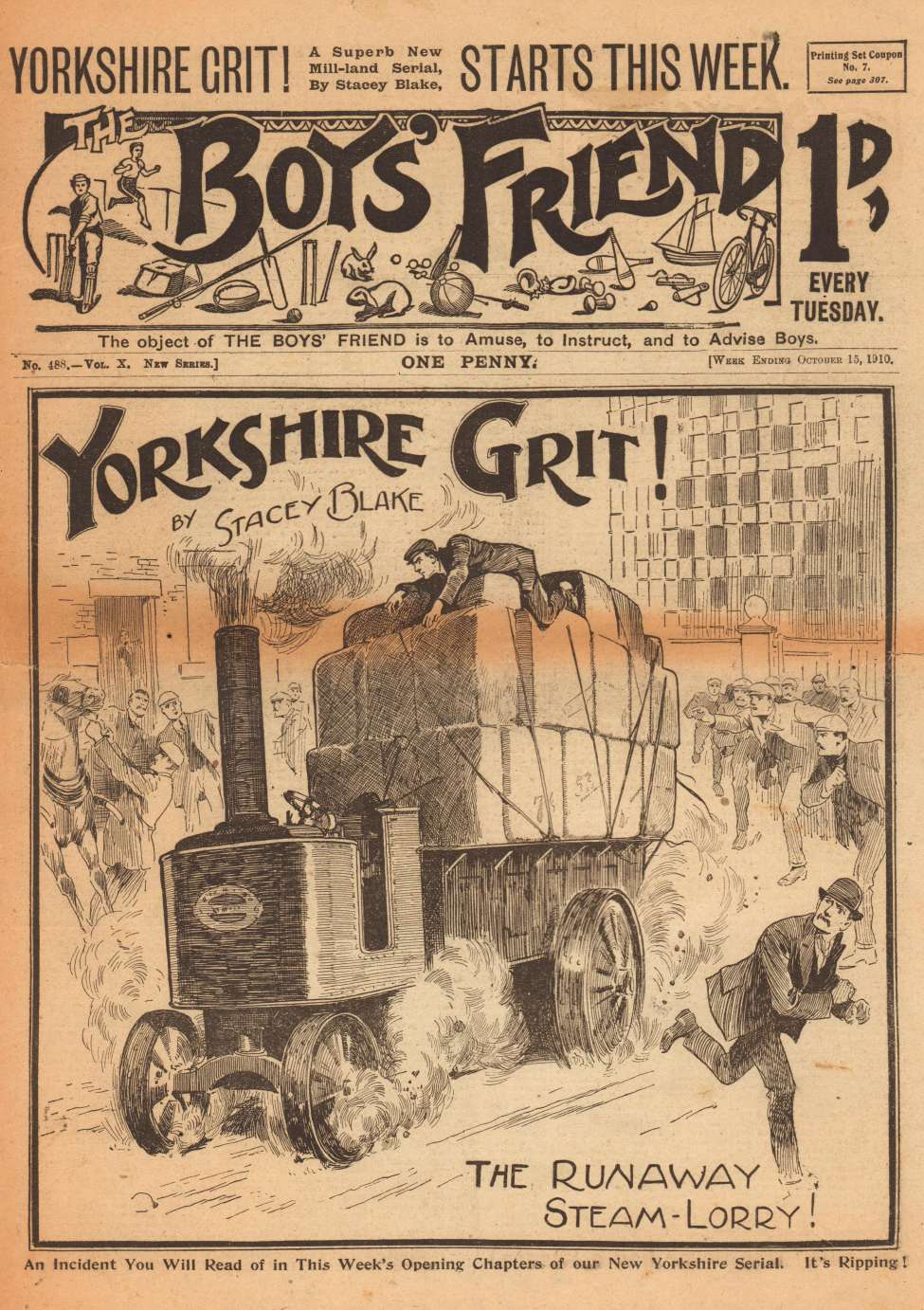Comic Book Cover For The Boys' Friend 0488 - Yorkshire Grit
