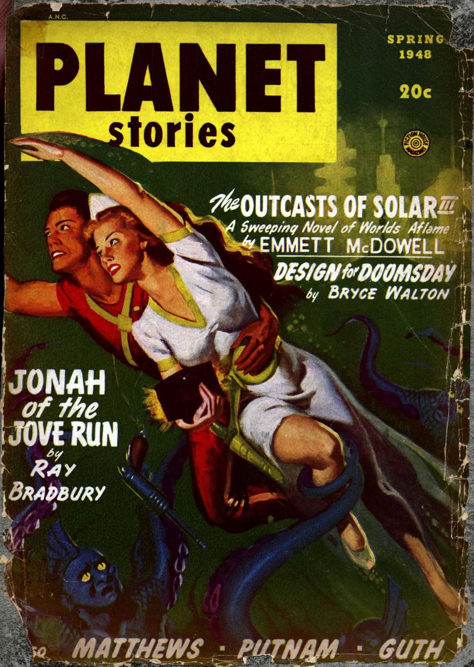 Comic Book Cover For Planet Stories v03 10 - Jonah of the Jove-Run - Ray Bradbury