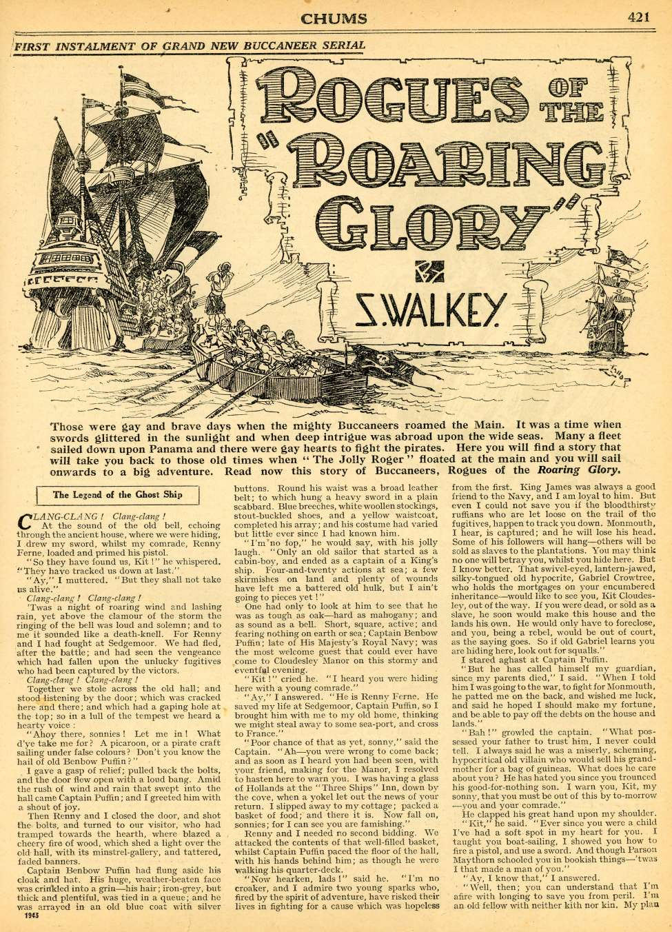Comic Book Cover For Chums 1930-31 Serial - Rogues of the Roaring Glory by S. Walkey