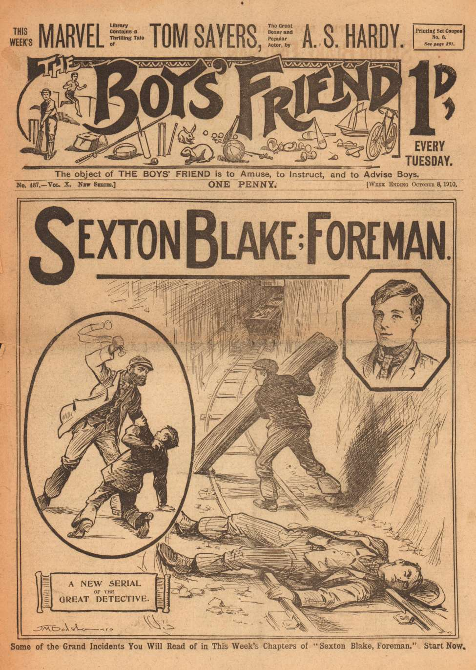 Comic Book Cover For The Boys' Friend 0487 - Sexton Blake: Foreman