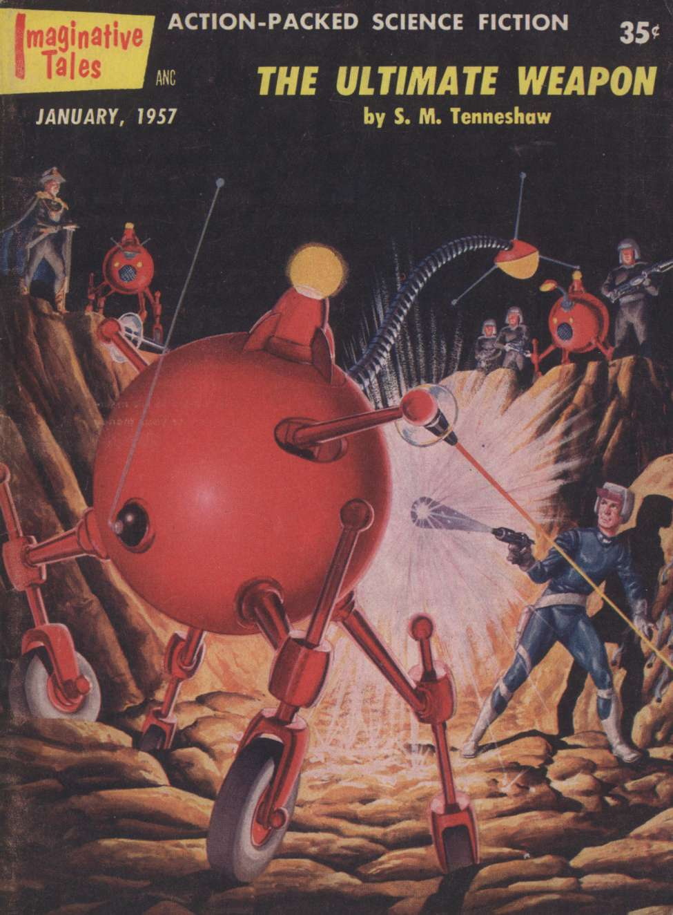 Comic Book Cover For Imaginative Tales v04 01 - The Ultimate Weapon - S. M. Tenneshaw