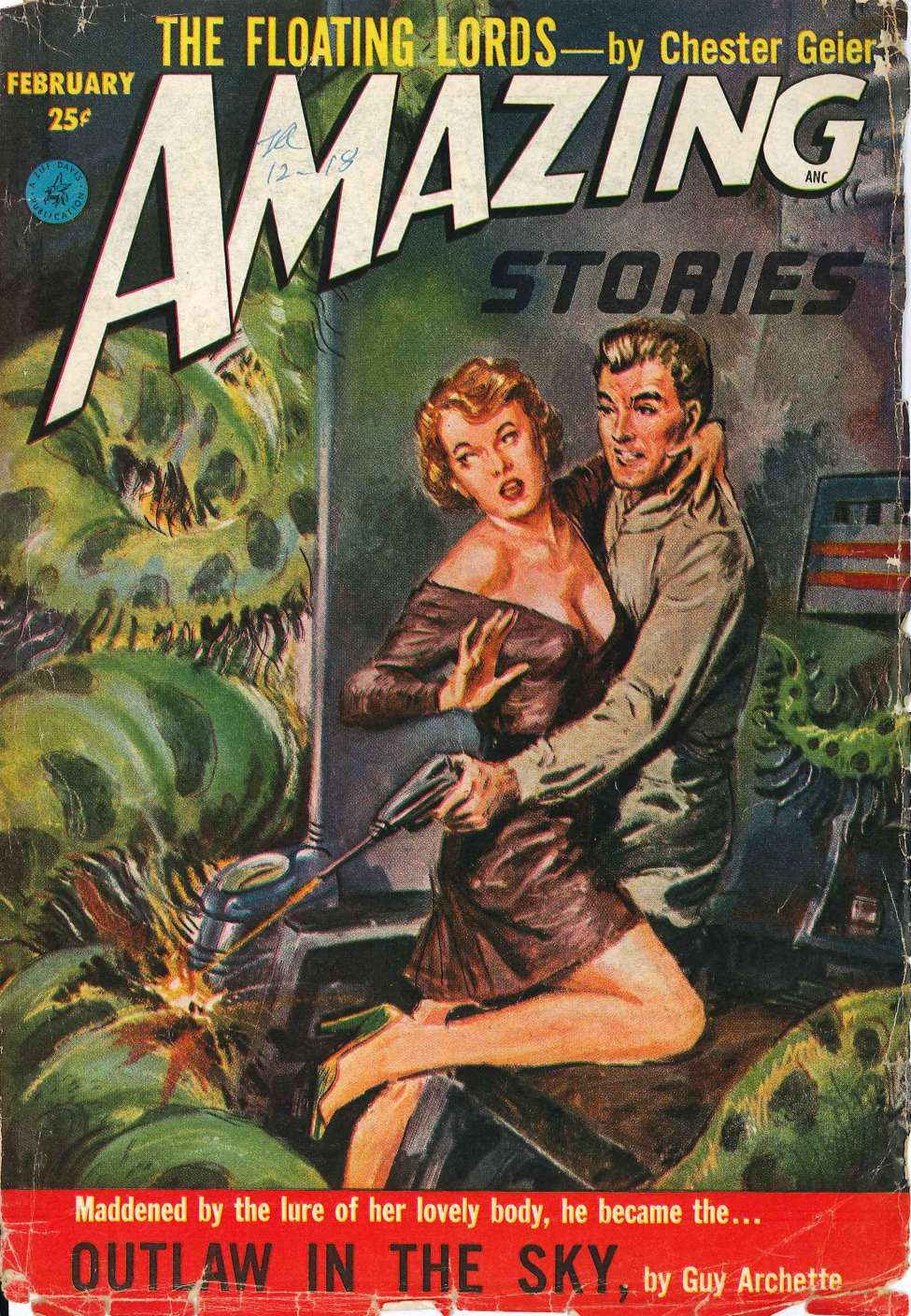 Comic Book Cover For Amazing Stories v27 02 - Outlaw in the Sky - Guy Archette