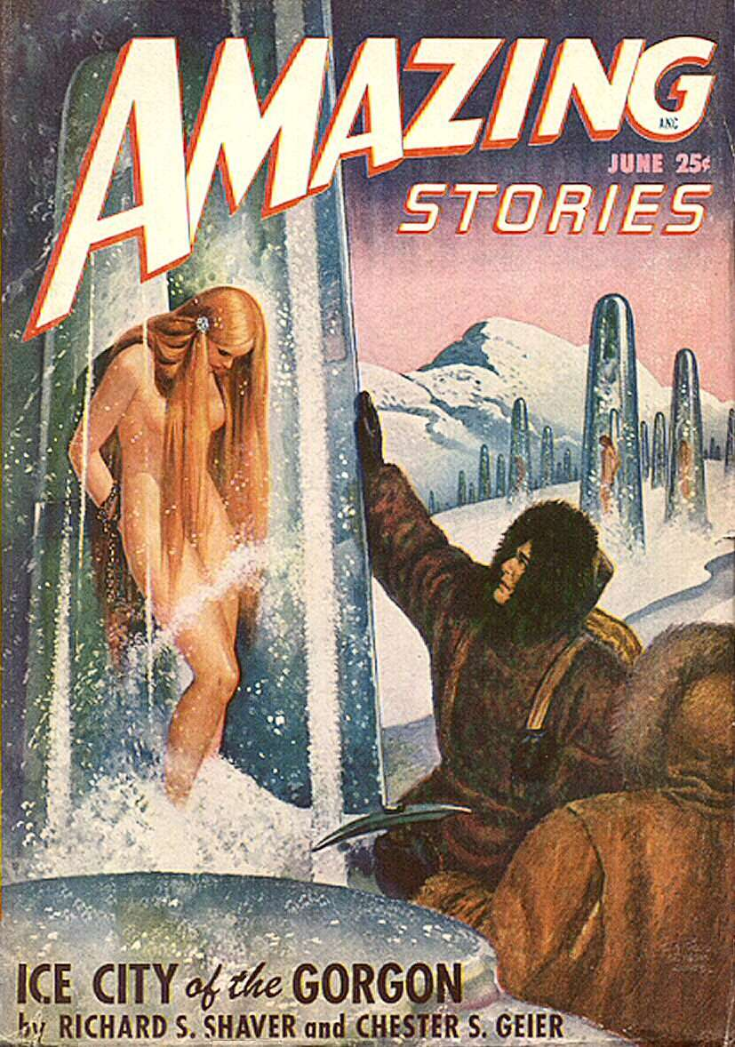 Comic Book Cover For Amazing Stories v22 06 - Ice City of the Gorgon - Richard S. Shaver