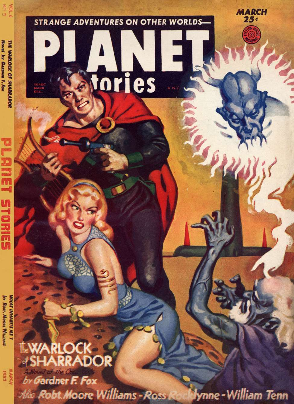 Comic Book Cover For Planet Stories v05 11 - The Warlock of Sharrador - Gardner F. Fox