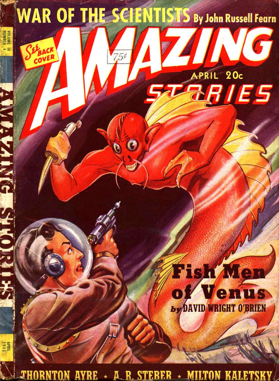 Comic Book Cover For Amazing Stories v14 04 - Fish Men of Venus - David Wright O'Brien