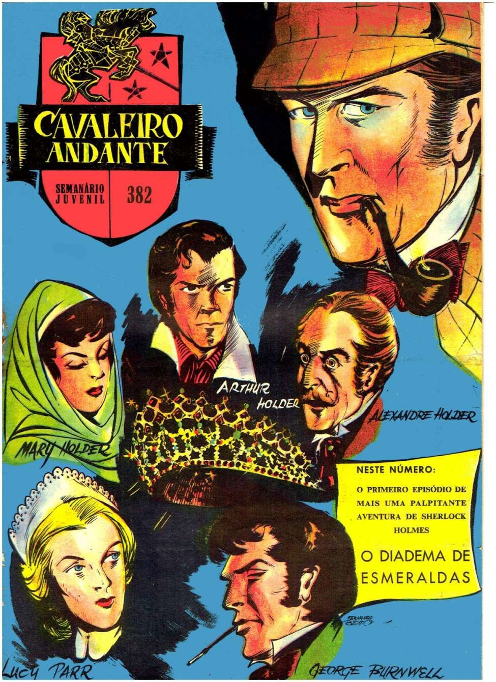Comic Book Cover For Sherlock Holmes in O Diadema Esmeraldas