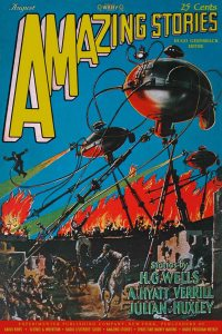 Large Thumbnail For Amazing Stories v02 05 - The War of the Worlds - H. G. Wells
